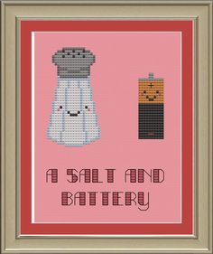 A salt and battery funny crossstitch by nerdylittlestitcher, $3.00