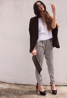 Black & White forever and ever - outfit - black and white - stripes - pant - gossips made me famous