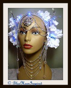 Headpiece, Burning Man Headpiece, Fairy headDress, Bellydance headpiece, Fantasy Headpiece, Wedding Headpiece, Tribal Headpiece on Etsy, $225.00