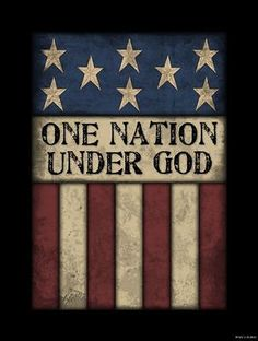 Primitive Country Americana ONE NATION UNDER GOD FLAG Wood Sign Home Decor