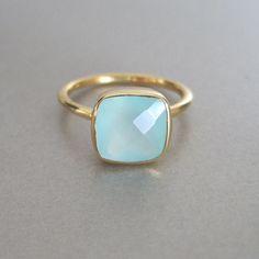 Aqua Chalcedony Square Gold Ring