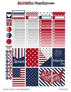 FREE 4th of July Planner Stickers by beayoutifulplanning.com