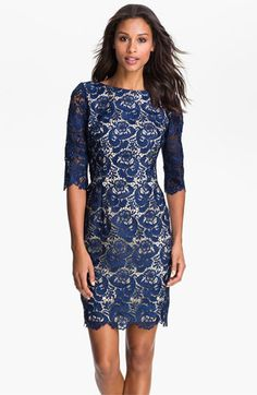 Embroidered Lace Overlay Sheath Dress (Regular & Petite)