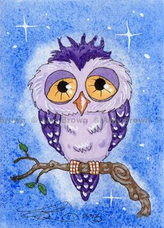 ORIGINAL purple Owl ACEO painting by Amy Brown