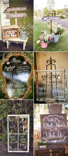 Rustic vintage wedding signs