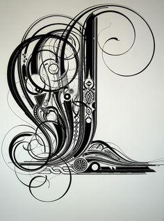 Grafic design Typography L Black and white Typerotics