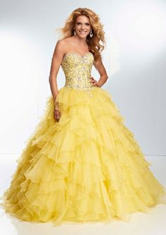New Sweetheart Yellow Organza Beaded Floor Length Lace Up A-line pGowns Prom Dresses/ Formal Dresses 95095