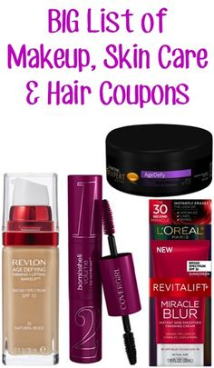 BIG List of Makeup, Skin Care and Hair Coupons: $2.00 off 1 Revlon, $2.00 off 1 L'Oreal, $1.00 off 1 CoverGirl + more! ~ at TheFrugalGirls.com #skincare #thefrugalgirls