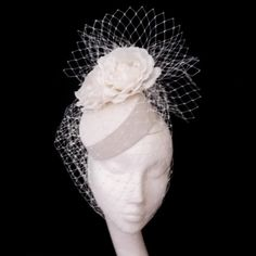 Bridal Pill Box Hat with Birdcage Veil by jessicabissell on Etsy