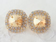 Bridal stud earrings Champagne and white opal by EldorTinaJewelry, $49.00