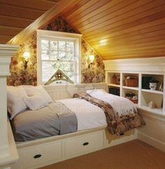 Fabulous Attic remodel chicago,Small attic bedroom low sloping ceilings and Attic renovation requirements. Dream Bedroom, Home Bedroom, Bedroom Decor, Bedroom Ideas, Bedroom Nook, Master Bedroom, Attic Renovation, Attic Remodel, Built In Daybed