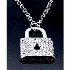 ROCKSTAR! Glam Punk Rock Crystal Padlock Necklace