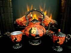 VINTAGE HALLOWEEN WITCHS BLACK CATS PUMPKINS PEDSTAL TEA SET HP* by Peggy G