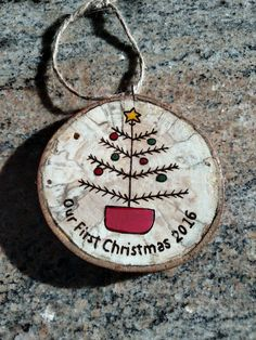 Our First Christmas wood burned Christmas ornament - great Wedding gift!