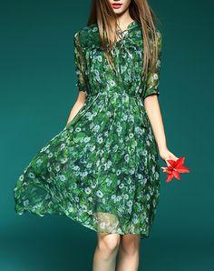 #AdoreWe #VIPme Shift Dresses - Elenyun Summer Green Silk Floral Mini Dress with Half Sleeve - AdoreWe.com