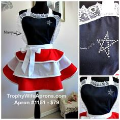 4th of July!!! READY to SHIP Aprons - Trophy-Wife Aprons