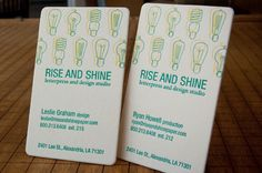 rise and shine letterpress studio business cards #businesscards #letterpress