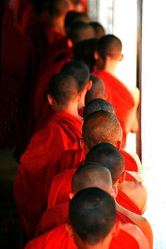 Buddhist Monks Standing In Line For Lunch, Yangon, Myanmar, Burma
