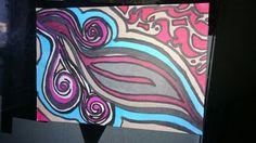 Coloriage au feutres couleurs, motif abstrait original
