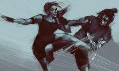 "charlotvanh: "" bucky/nat sparring session i gave up (trust me it looks better cropped) "" Marvel Fan Art, Marvel Dc Comics, Marvel Heroes, Marvel Characters, Marvel Movies, Marvel Avengers, Bucky And Natasha, Natalia Romanova, James Barnes"