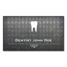metallic grey dentist dental office business card. Make your own business card with this great design. All you need is to add your info to this template. Click the image to try it out!