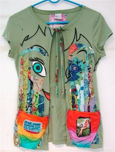 Love this concept. Tinker Bell FISH EYE: Upcycled Tshirt Wearable Art Sz S. $30.00, via Etsy.