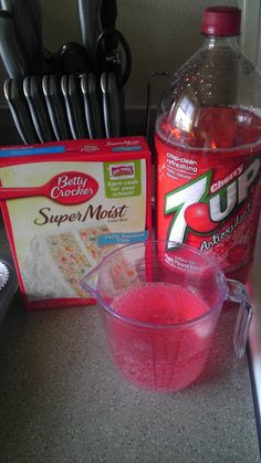 I made this for a work luncheon and it was REALLY good.  I used diet cherry 7-up and added Cool-Whip Free for the frosting.  YUM!  Confetti Cake Mix & 12oz Diet Cherry 7-up!! Mix together and bake like the directions suggest. Three ingredient recipe, love it! =)