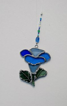 Spring Flower Stained Glass Suncatcher Blue by DianeMarieArt, $15.00
