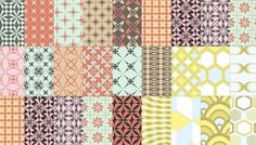 Vintage seamless patterns with retro colors