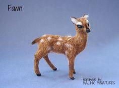 Dollhouse Miniature Realistic Handmade Fawn OOAK Animal - Malinik Miniatures