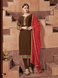 BELA D.NO.-437 RATE : 1305 - ARMANI BY BELA FASHION 432 TO 438 SERIES  BEAUTIFUL STYLISH FANCY COLORFUL CASUAL WEAR & ETHNIC WEAR SATIN GEORGETTE EMBROIDERED DRESSES AT WHOLESALE PRICE AT DSTYLE ICON FASHION CONTACT: +917698955723 - DStyle Icon Fashion