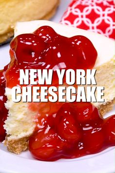 This New York Cheesecake is the best I've ever had! No cracking, no sinking top, no thick brown crust. A perfectly flat cheesecake that is tasty plain or with fruit! recipes new york videos New York Cheesecake Cheesecake Original, Plain Cheesecake, Fruit Cheesecake, Baked Cheesecake Recipe, Best Cheesecake, Classic Cheesecake, Cheesecake Crust, Chocolate Cheesecake, Cherry Cheesecake Topping