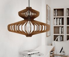 wood Pendant Light lasercut Chandelier lamp Handmade plywood
