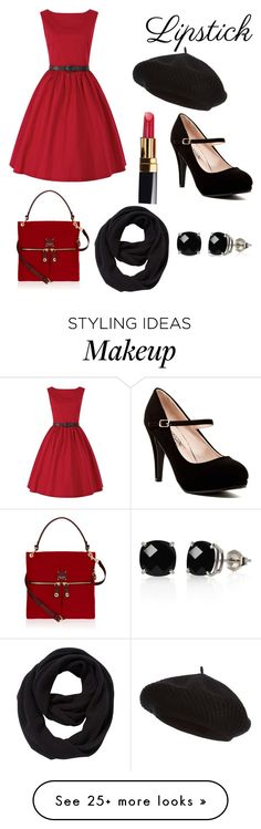 """""""Ruby Red"""" by cathryn-noelveatch on Polyvore featuring Harrods, Henri Bendel, Belk & Co., Chanel and John Lewis"""