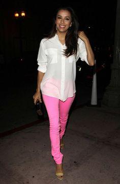 Eva Longoria pink neon jeans