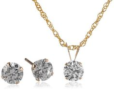 10k Gold Swarovski Pendant Necklace and Earrings Jewelry Set - Jewelry For Her
