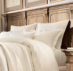 Vintage-Washed Belgian Linen Bedding Collection - Duvet cover and shams shown in dune. Sheeting shown in white. Featured with Vintage-Washed Belgian Linen Quilt & Shams in prairie - Restoration Hardware