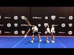 A cheerleading L-stand can transition into a shoulder sit when the base cheerleader moves the fliers extended leg onto her shoulder. See an L-stand and shoul. Cheerleading Flexibility, Cheerleading Moves, Easy Cheer Stunts, School Cheerleading, Cheer Workouts, Volleyball Drills, Volleyball Quotes, Cheerleader Quotes, Gymnastics