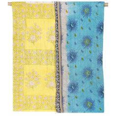 Vintage Kantha Throw Blanket - Yellow Pearl