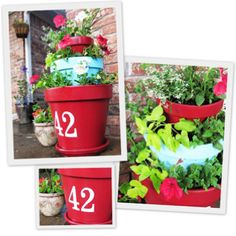 Brightly painted flower pots.