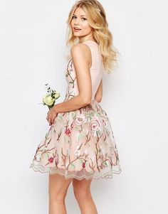 Chi Chi Petite | Chi-Chi London Petite Allover Premium Embroidered Mini Prom Skater Dress