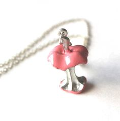 Necklace candy apple pink eaten core pendant by Bunnys on Etsy, $40.00