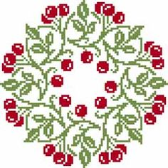 Free Christmas wreath cross stitch pattern #stitching