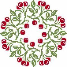 Free Christmas wreath cross stitch pattern #stitching