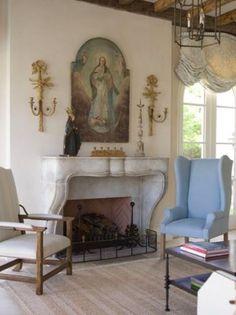 Catholic home altar- faux fireplace Living Area, Living Spaces, Living Room, Shabby Vintage, Home Altar Catholic, Prayer Corner, Interior And Exterior, Interior Design, Prayer Room