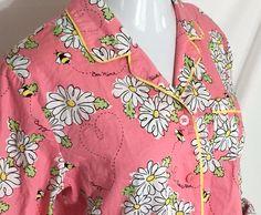 Nick and Nora Pajama Top Large Sleepwear Bee Mine Valentine Flower 100% Cotton #NickNora #Sleepshirt #Everyday