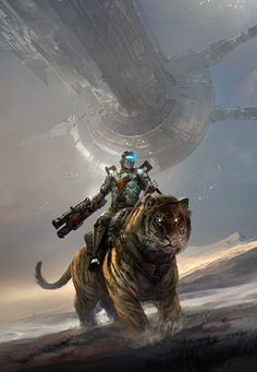 Isaac from Dead Space Riding a Siberian Tiger.