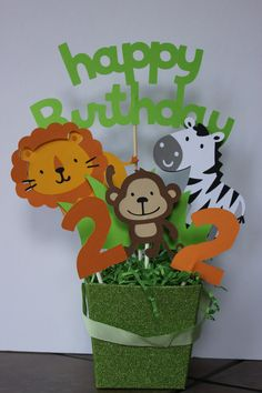 Jungle animal centerpiece, just change the number to on Etsy Jungle Theme Birthday, Safari Theme Party, 1st Birthday Themes, Baby Boy First Birthday, Safari Birthday Party, Jungle Party, Animal Birthday, 4th Birthday Parties, Jungle Safari