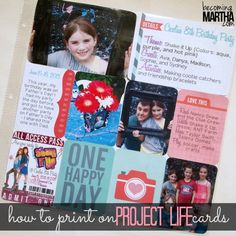 How to Print on Project Life Cards - The Simply Crafted Life Project Life Scrapbook, Project Life Album, Project Life Cards, Scrapbook Journal, Journal Cards, Scrapbook Pages, Pocket Scrapbooking, Scrapbooking Layouts, Scrapbook Paper Crafts