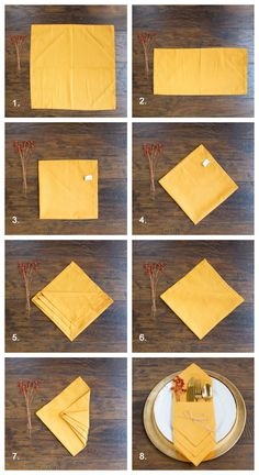 how to fold napkins for a fall table or thanksgiving table using yellow napkins Napkin folding ideas 3 Pretty Ways to Fold Napkins for Your Fall Tablescape Fancy Napkin Folding, Christmas Napkin Folding, Christmas Napkins, How To Fold Napkins, Folding Paper Napkins, Wedding Napkin Folding, Thanksgiving Tafel, Thanksgiving Napkin Folds, Thanksgiving Decorations